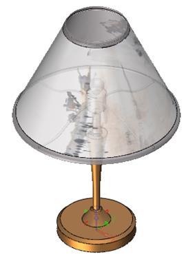在整个台灯的设计过程中,主要运用了旋转功能,即通过一个截面轮廓围绕