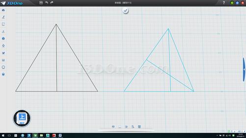 3.连接线段,并作出两条高线,删除两辅助圆,如图