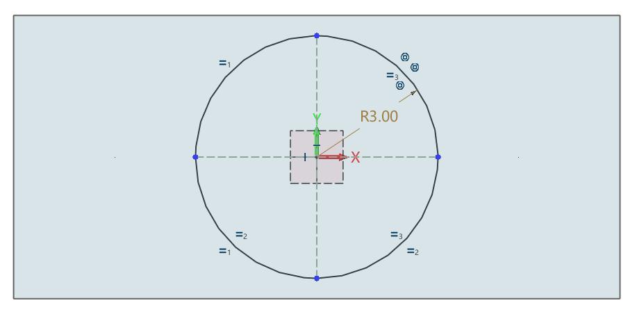 创建四等分圆